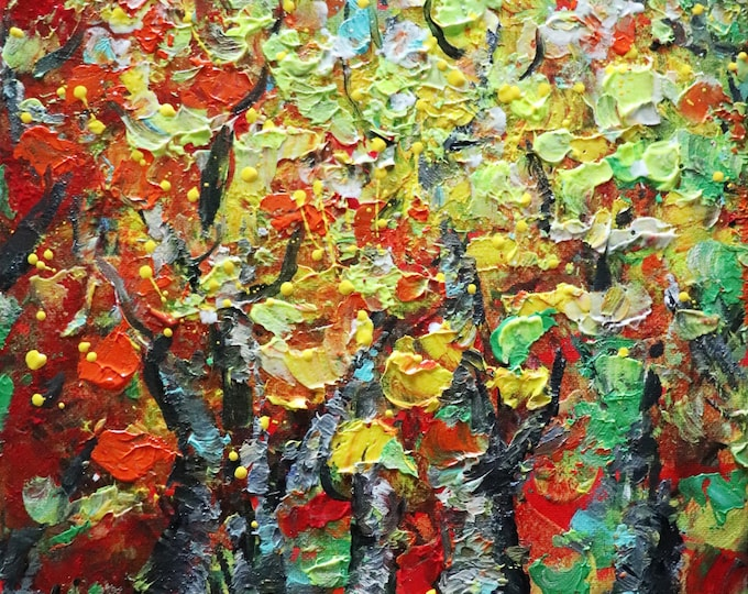 FALL BIRCH Trees and Leaves Autumn Colors Original Oil Painting Landscape