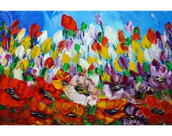 SPRING Flowers GARDEN Vivid Colors Wall Art Home Decor Impressionist Oil Painting Art by Luiza Vizoli
