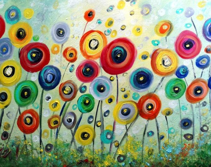POPPY FLOWERS Sunshine Original Painting Whimsical Colorful Landscape Art by Luiza Vizoli