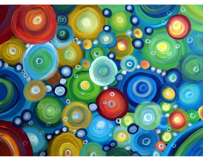 In MOTION Abstract Colorful Original handmade oil painting on canvas, office wall art, business art