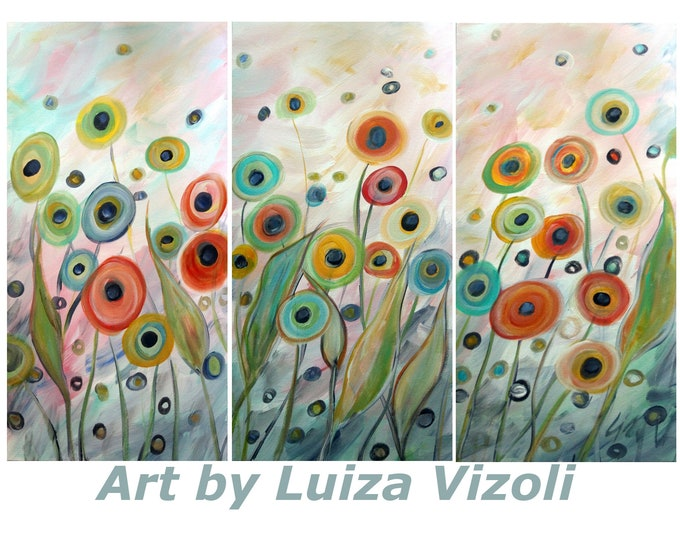 Large Original Painting POPPIES 54x36 Triptych Artwork Soft Touch of the Wind Abstract Floral Art by Luiza Vizoli