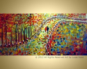 FALL PARK Romance Painting Trees Landscape Colorful Large Artwork by Luiza Vizoli
