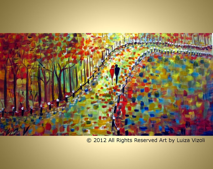 FALL PARK Romance Painting Trees Landscape Colorful Large Artwork by Luiza Vizoli