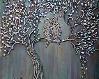 Abstract Birds Moon Painting Metallic Textured Silver Gold White  Tree Thick Canvas