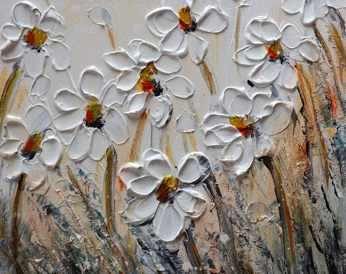 White Daisies Flowers Morning Meadow Original Painting made on Square Canvas Art by Luiza Vizoli, ready to ship