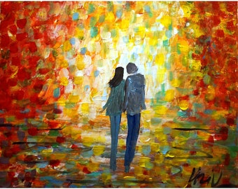 Romance Fall Park Afternoon Sunset Art By Luiza Vizoli