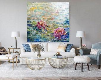 Water Lilies Lotus Flowers Large Painting Abstract Modern Wall Decor Art by Luiza Vizoli, 30x30, 36x36, 48x48