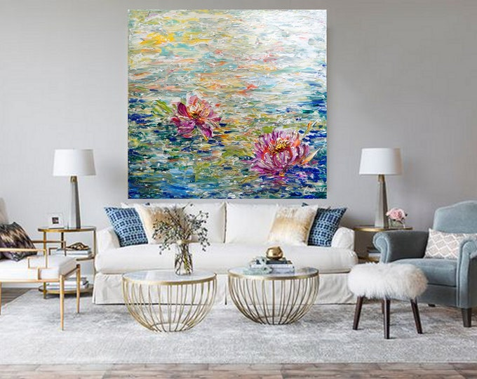 Water Lilies Lotus Flowers Large Painting Abstract Modern Wall Decor Art by Luiza Vizoli, 30x30, 36x36, 48x48