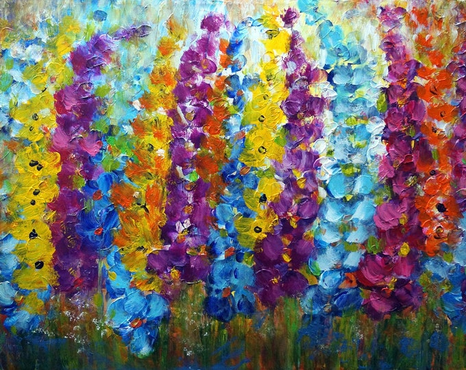 LUPINE FLOWERS Original Painting Summer Flowers Impasto Oil on Large Canvas Art by Luiza Vizoli