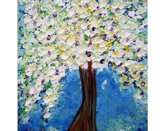 Cherry Blossom on Blue Original Oil Painting Flowering Impasto Impressionist Landscape Fine Art by Luiza Vizoli