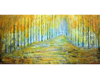 Golden FOREST Yellow Trees Landscape Fall Abstract Original Painting on Large Canvas