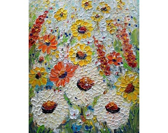 Summer Flowers Oil Painting White Cream Dust Orange Yellow Green Blue THE SUMMER You Can Touch the Flowers by Luiza Vizoli