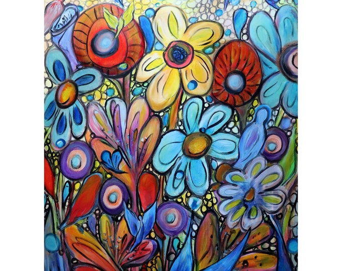 RAINBOW Flowers Garden Colorful Birds Bees and Butterflies Original Painting Whimsical Large Canvas Ready to Ship Art by Luiza Vizoli