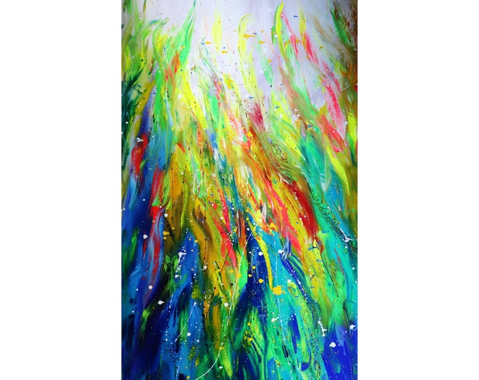 Abstract 72x36 Canvas TROPICAL Plants Colorful ORIGINAL Flora Art Luiza Vizoli