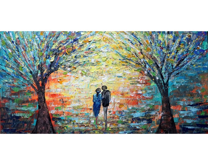 Romantic Couple Walking Together into the Sunset Original Oil Painting Landscape