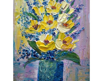 Yellow Flowers Bouquet Spring Bouquet Impasto Oil on Canvas by Luiza Vizoli CUSTOM