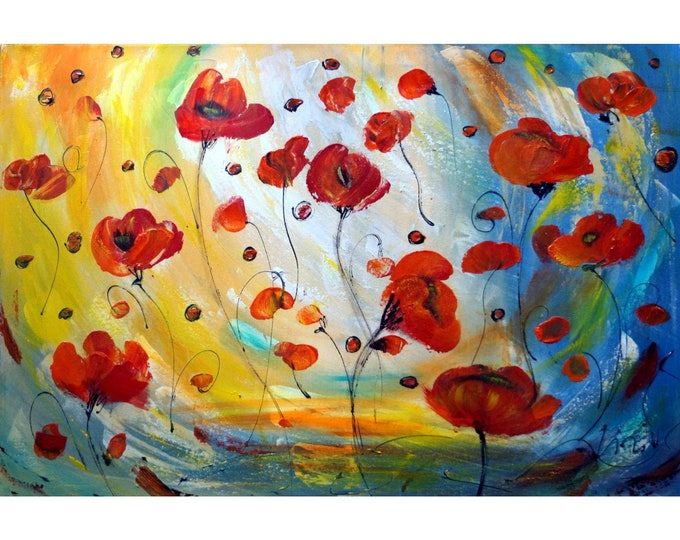 RED FLOWERS Original Painting Red Poppy Flowers Abstract Floral Large Canvas ready to ship