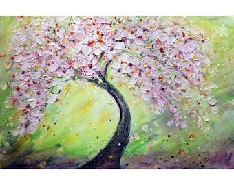 SAKURA BLOSSOMS Pink Cherry Flowering Tree Springtime Original Painting Ready to Ship Art by Luiza Vizoli