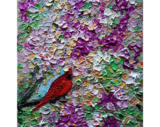 RED CARDINAL Spring Blossom Original Abstract Birds Painting