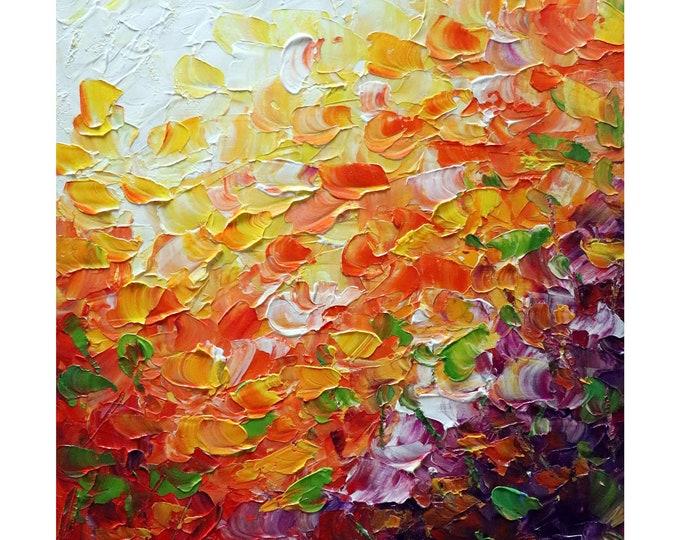 Symphony of Petals no 1  Original Oil Painting Modern Canvas Art by Luiza Vizoli