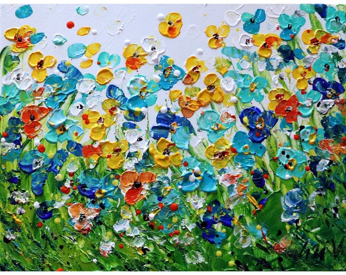 SUMMER Wildflowers Impasto Original Painting Flowers Fields Art by Luiza Vizoli