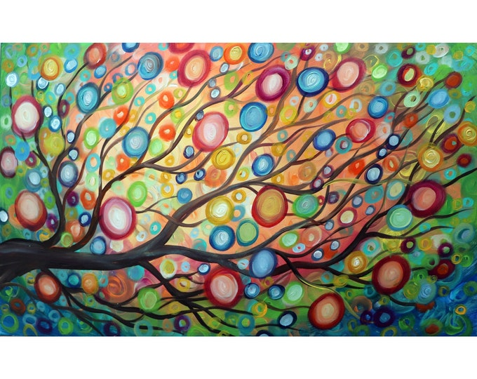The MUSIC of NATURE Rain Tree Rainbow Sunset Original Large Painting Whimsical Colorful Art by Luiza Vizoli