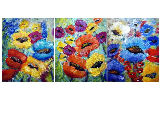COLORFUL POPPIES 72x36 or 60x24 Original Oil Painting Impasto Art on Canvas Poppy Flowers Summer Floral by Luiza Vizoli