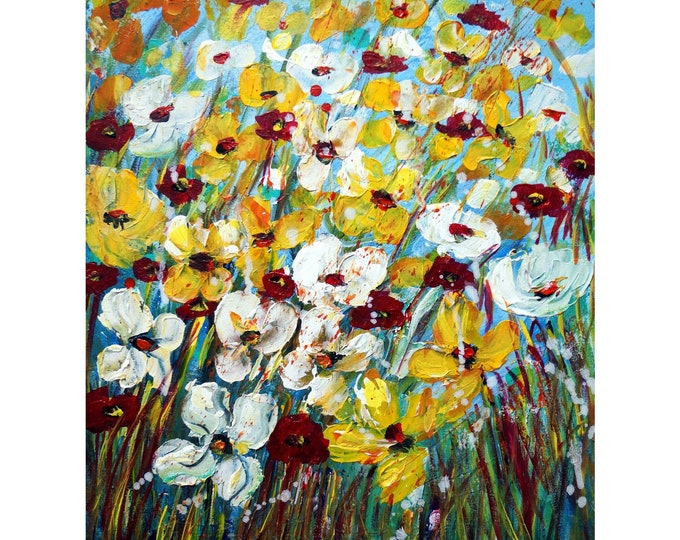 Yellow Pansy Flowers White Burgundy Floral Palette Knife Painting Art by Luiza Vizoli