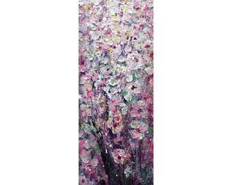 Pink APPLE Blossom Tall ORIGINAL PAINTING Narrow Canvas wall decor for staircase, bathroom, kitchen, entryway