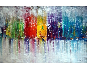 COLORFUL MIST Pollock Drip Art Abstract Huge Landscape Painting Extra Large 48x30, 48x36, 60x36