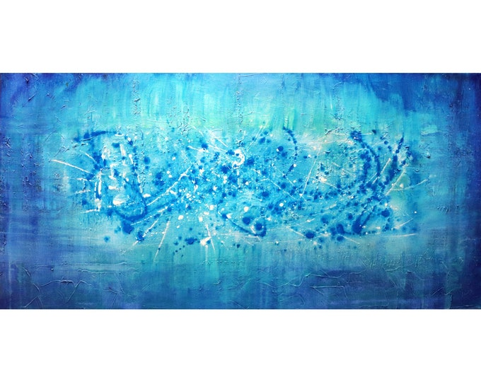 Abstract MARINE Original Painting in shades of Blue Aqua Turquoise BLUE LAGOON