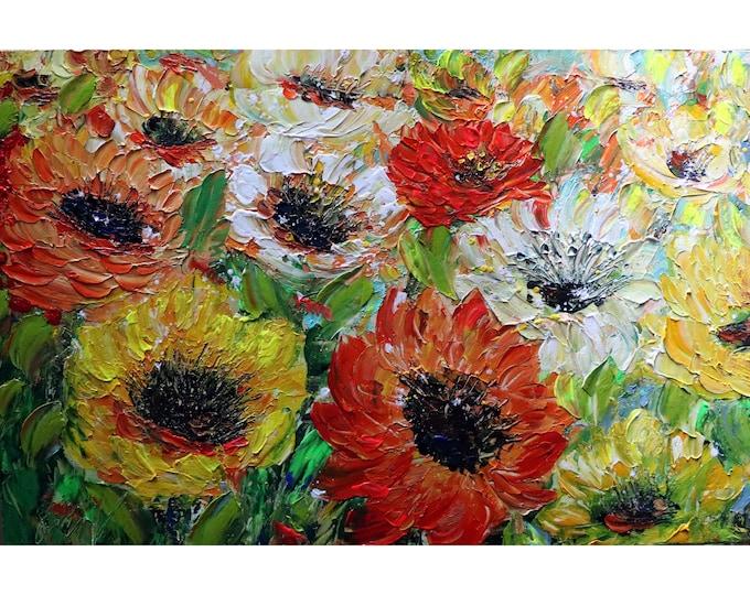 FALL FLOWERS Autumn Joy in Orange Yellow White Cream Red Green Colors Oil Impasto Original Painting