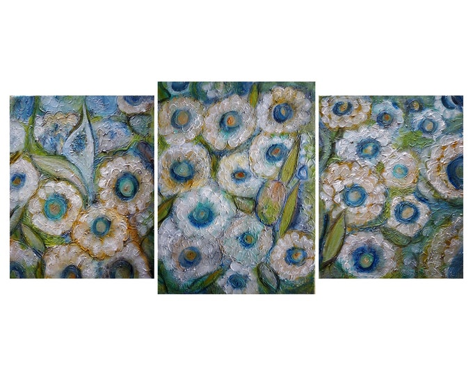 DAISY Abstract FLOWERS TEXTURED Large Painting 50x24 White Blue Green Art by Luiza Vizoli