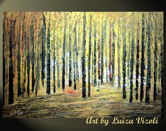 Original Modern Abstract Landscape Trees Palette Knife Impasto Fall Oil Painting FOREST  by Luiza Vizoli