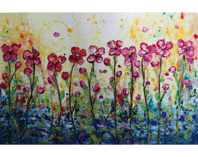 Pink Daisy Rainy Day Art by Luiza Vizoli Original Painting on Canvas Art for living-room, art for business , wall art for office