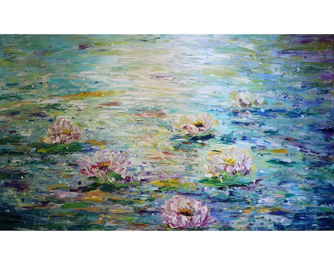 Lily Pond 60x36 XXL Canvas Water Flowers Monet Inspired Abstract Painting