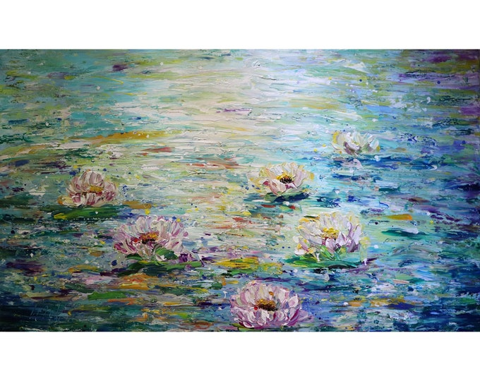 Lily Pond 60x36 XXL Canvas Water Flowers Monet Inspired Abstract Painting by Luiza Vizoli