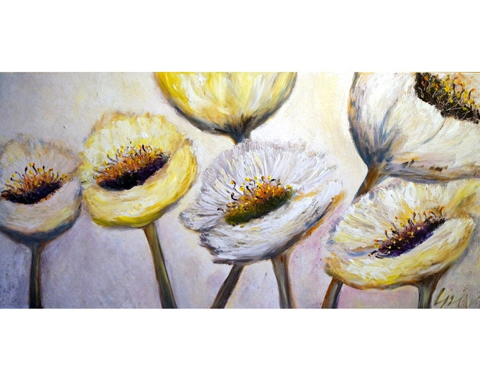 White Morning Flowers Living Room Artwork, A BRIGHT DAY White TULIPS, Floral Painting, Oil on Large Canvas