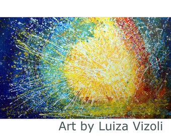 Abstract Large Painting SUNLIGHT Pollock Inspired Drip Painting  60x36x1.5 ready to Hang