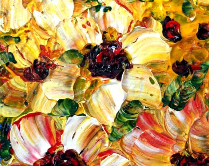 Yellow Orange Oil Flowers ORIGINAL Palette Knife Impasto Painting on SMALL Canvas CUSTOM