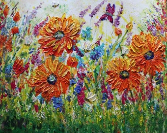 reserved for Nadine Made to Order Whimsical Bees Lavender Flowers SUMMER Butterflies Painting Orange Purple Pink Original