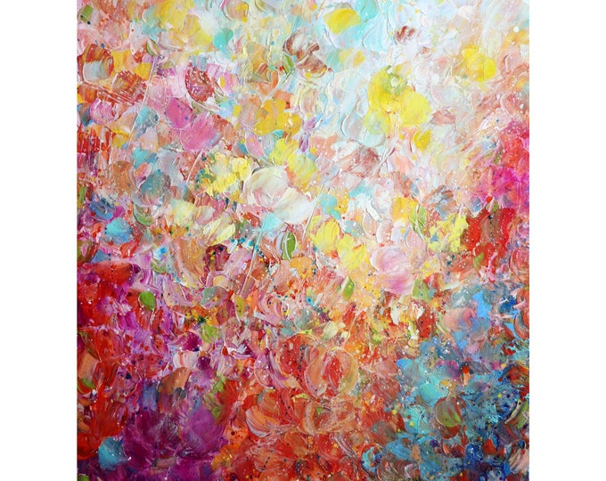ROSES PETALS in the WIND Summer Flowers Orange Yellow White Cream Red Green Colors Oil Original Painting 40x30, ready to ship, ready to hang