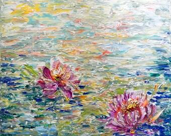 Japanese LOTUS Flowers WATER Lilies Painting Impasto Original Painting on Canvas