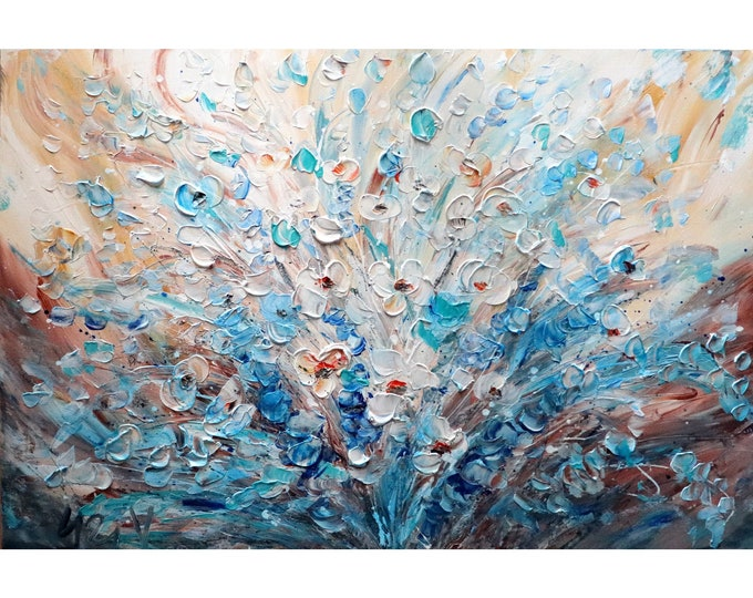 Abstract Flowers Bouquet Blue White Rust Cream Colors Oil Original Painting on Canvas FRESH FLOWERS ready to ship