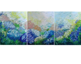 HYDRANGEAS Gardens Summer Original Painting Impasto Oil Large Art on Canvas Triptych 48x20