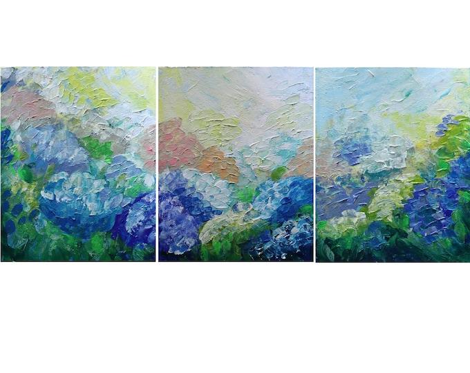 HYDRANGEAS Gardens Summer Original Painting Impasto Oil Large Art on Canvas Triptych 48x20