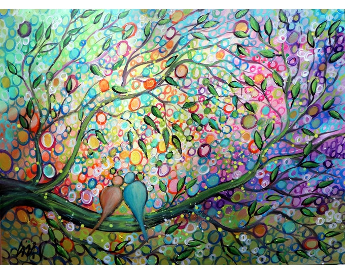 Loving Life Together HAPPY COUPLE Original Large Painting Whimsical Colorful Canvas Art by Luiza Vizoli