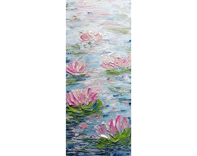 Water Lily Tall vertical wall art ORIGINAL PAINTING canvas abstract, Long Narrow wall decor for staircase, bathroom, kitchen, entryway