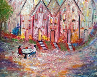 Cozy Cafe Romantic Bohemian Original Painting Market Square Hallstatt Austria Original Artwork by Luiza Vizoli
