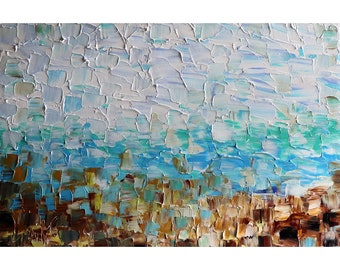 City by the Water Abstract SEA Ocean Original Painting Bring Relaxation in your office space with this breathtaking water on canvas